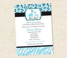 Blue Safari Baby Shower Invitations. $10.00, via Etsy.