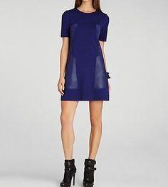 BCBG MAXAZRIA CHRISSIE Blue Shift Dress, Size L