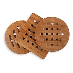 A functional and an appealing design make these trivets perfect for every day use or for those special occasions. The bamboo serveware will add a natural look to any table.