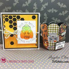 Halloween card and treat bucket #svgattic #svg #cutfile #diecut #papercraft #stamp #copic #halloween #trickntreat #smellmyfeet #trendytwine