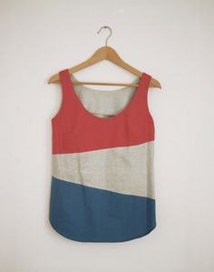 Hand printed loose block colour linen top