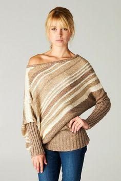 Love Stitch Off the Shoulder Striped Dolman Sweater #salediem #lovestitich #fashion