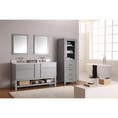 Avanity TRIBECA-VS60-CG Tribeca 60-in. Double Bathroom Vanity with Base - A beautiful, elegant design makes the Avanity TRIBECA-V Tribeca 60 in. Double Bathroom Vanity with Base – Gray an ideal addition to your new master-bathroom...