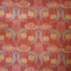 Art Deco Art Nouveau Pink Linen Upholstery Fabric | Archibald Knox Designs Tulips Banejiarg (Pink Tulips) Linen from Loome Fabrics