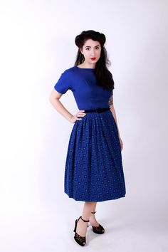 Vintage 50s Dress Bold Blue and Turquoise Wool by stutterinmama, $84.00