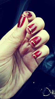 Red and gold nails. SF 49ers spirit - go Niners!