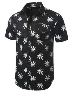 Pot Leaf Print Short Sleeve Button Down Shirt - Doublju #doublju #mensfashion #menswear