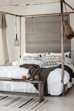 Coastal bedroom with simple boho chic influences