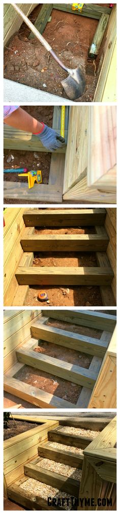 Tutorial on how to create timber and pea gravel stairs for your tiered garden. Tutorial on how to create timber and pea gravel stairs for your tiered garden. Outdoor Wood Steps, Outdoor Stairs, Sloped Backyard, Backyard Landscaping, Modern Landscaping, Pea Gravel, Gravel Walkway, Gravel Garden, Gardens