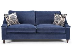 Wide sculpted track arms sloping to a high, rounded back embrace tall box cushions and roomy seating in this mid-century-reminiscent sofa. Plain front edge and turned legs complete the look. The Louisville is a sofa for deep relaxation and comfort and will look great in any transitional setting.
