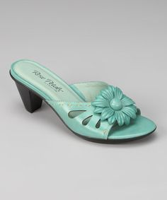 Brian James & Rose Petals  -  Turquoise Flower Sadie Slide - Zulily