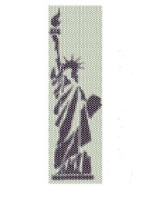 Statue of Liberty peyote pattern,done in different shades of gray,  the peyote cuff are (2in x 6.8in).