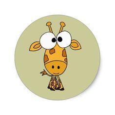 AB- Funny Giraffe Cartoon Classic Round Sticker