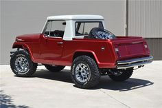 1969 Jeepster Commando Pickup with two-tone metallic paint, XD wheels and Cooper Discover SST tires with a matching spare in the box. Old Jeep, Jeep Cj, Jeep Wrangler, Vintage Jeep, Vintage Trucks, Jeep Pickup, Jeep Truck, Cool Jeeps, Cool Trucks