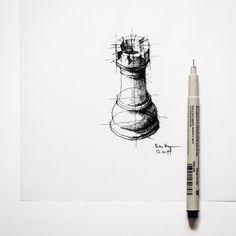 Micron, vertical. #chess #sketch | by Dan Hogman