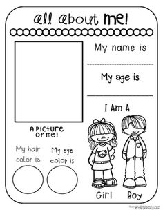 Free all about me preschool theme printable for pre-k or kindergarten class. All About Me Preschool Theme, All About Me Activities, Preschool Learning Activities, Preschool Lessons, Kindergarten Worksheets, Kids Learning, Vocabulary Worksheets, All About Me Worksheet, All About Me Book