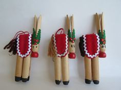 Vintage Reindeer Clothespin Christmas Ornaments by TimesPast72, $7.25