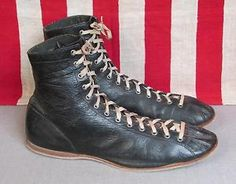 Vintage 1930s Black Leather Boxing Boots Size 9 Boxer Athletic Shoes Great Shape | eBay