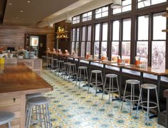 Tacolicious Restaurant, San Francisco, CA Model: Terranea Handmade Cement Tile Collection by Original Mission Tile Valencia, San Francisco, Rustic Wood Walls, Encaustic Tile, Bar Seating, Concrete Tiles, Floor To Ceiling Windows, Carpet Tiles, Commercial Interiors