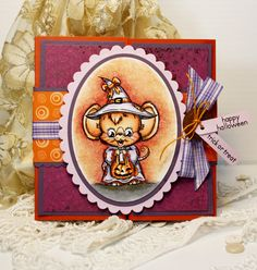 Such a fantastically cute, cheerful, beautifully crafted Halloween card. #cards #scrapbooking #Halloween #cute #beautiful