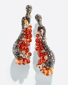 De Grisogono; Drop earrings of 18-karat rose gold, brown and white pavé diamonds and orange sapphire briolette clusters.