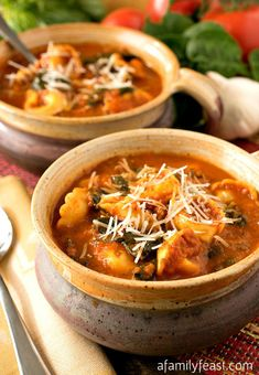 Slow Cooker Tomato and Tortellini Soup - Simple, hearty and delicious! Perfect comfort food in a bowl!