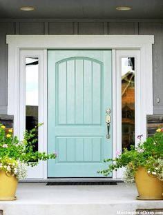 Front Door Paint Colors - Want a quick makeover? Paint your front door a different color. Here a pretty front door color ideas to improve your home's curb appeal and add more style! Front Door Paint Colors, Painted Front Doors, Exterior Paint Colors, Exterior House Colors, Exterior Doors, Paint Colours, Exterior Design, Turquoise Paint Colors, Outdoor House Colors