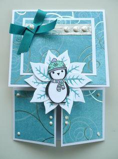 Xmas penguin Dutch fold card
