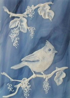 Titmouse Bird Sculpted Cameo on Stained Glass ACEO