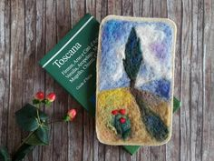 Wall hanging - wool decor - wool painting - Tuscan cypress wool art - needle felted painting - Waldorf home decor - gift for women