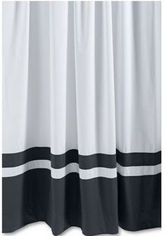 White Curtain With Black Bottom Stripes