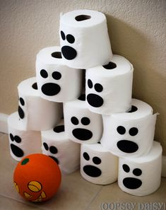 A great and free way to teach your toddler how to bowl!! Can even be a fun Halloween themed game!
