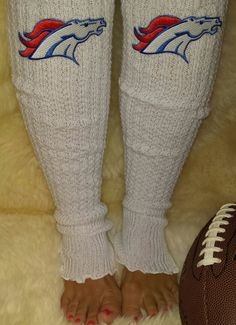 Denver Broncos Cable Knit Leg Warmers with embroidered logos. Dress them up or…