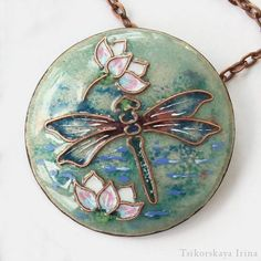 Items similar to Dragonfly lotus necklace. Entomology unique enamel jewellery on Etsy - From my insect or entomology jewelry collection i bring you the beautifully detailed necklace with - Broken Glass Art, Sea Glass Art, Stained Glass Art, Fused Glass, Enamel Jewelry, Jewelry Art, Etsy Jewelry, Jewlery, Glass Art Pictures