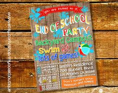 End of summer party invitation pool party splash bash invite