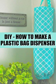 Plastic Bag Dispenser DIY - NO SEW! Plastic Bag Dispenser DIY - NO SEW! No sew plastic bag dispenser DIY project. Easy, fun, and will get you organized! Learn how to make a plastic bag holder and dispenser with this tutorial! Diy Plastic Bag Holder, Storing Plastic Bags, Plastic Bag Dispenser, Plastic Grocery Bags, Diy Bag Dispenser, Sewing Projects, Diy Projects, Sewing Tutorials, Hacks