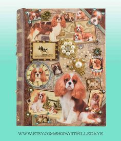 Decorative Book Box Decoupaged w Blenheim Cavalier King Charles Spaniels-Hand Embellished-Jewelry-Keepsake-Mixed Media Art-Safe-Memorial Box by ArtFilledEye on Etsy