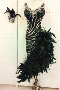 Rhinestone #Zebra Dress With Feathers http://dancinfeelin.com/