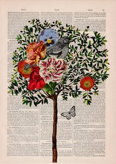 Winter Sale 10% off Wall decor Collage Tree with Bird by PRRINT