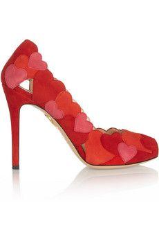 Charlotte Olympia Love Me heart-appliquéd suede pumps | NET-A-PORTER