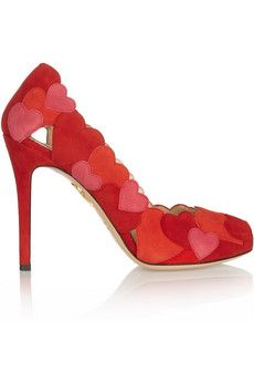 Love Me heart-appliquéd suede pumps by: Charlotte Olympia