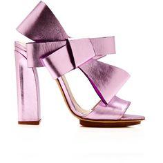 DELPOZO Bow Slingback Sandal (€985) ❤ liked on Polyvore featuring shoes, sandals, heels, delpozo, обувь, purple, leather heeled sandals, block heel shoes, heeled sandals and slingback sandals