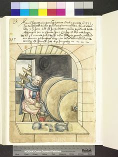 Amb. 317b.2° Folio 27 verso  The brother sitting in a chamber before three large grinding wheels, which are driven by a shaft of a water wheel, and polished armor, probably a breastplate. Other armor parts, including a helmet, lie on the drawer.