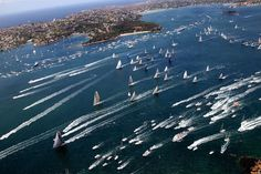 The start of the Rolex Sydney to Hobart yacht race 2012 as 77 competing yachts sail out of Sydney Harbour through the heads along the NSW coast towards Tasmania's Constitution Dock. Photo: Brendan Esposito.