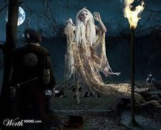 """The Irish banshee - Banshee means """"woman of the fairy mound"""" and is sometimes described as a ghost.  One popular belief was that they were the dead, or some subclass of the dead fairy."""