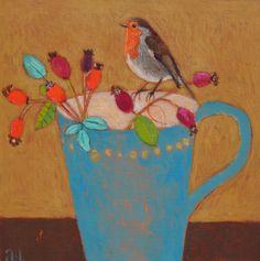 Andrea Letterie, Autumn roodborstje, Gemengde techniek op paneel, 20x20 cm, €.250,-
