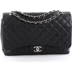 Pre-Owned Chanel Classic Double Flap Bag Quilted Caviar Maxi (206,930 DOP) ❤ liked on Polyvore featuring bags, handbags, black, burgundy leather handbags, genuine leather handbags, quilted purses, leather flap handbags and burgundy purses