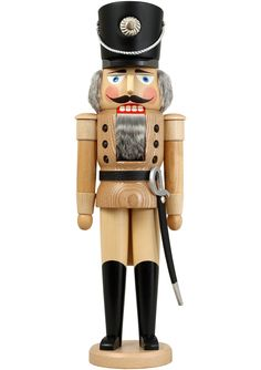 German nutcracker hussar natural, height 50 cm / 20 inch, original Erzgebirge by Seiffener Volkskunst