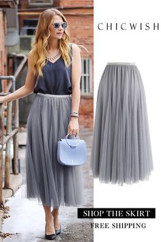 Search results for: 'my secret weapon' - Retro, Indie and Unique Fashion Jupe Midi Tulle, Grey Tulle Skirt, Pleated Skirt Outfit, Dress Skirt, Work Fashion, Modest Fashion, Unique Fashion, Fashion Outfits, Womens Fashion