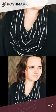 Black and white striped scarf A hand cut up cycled scarf! Accessories Scarves & Wraps
